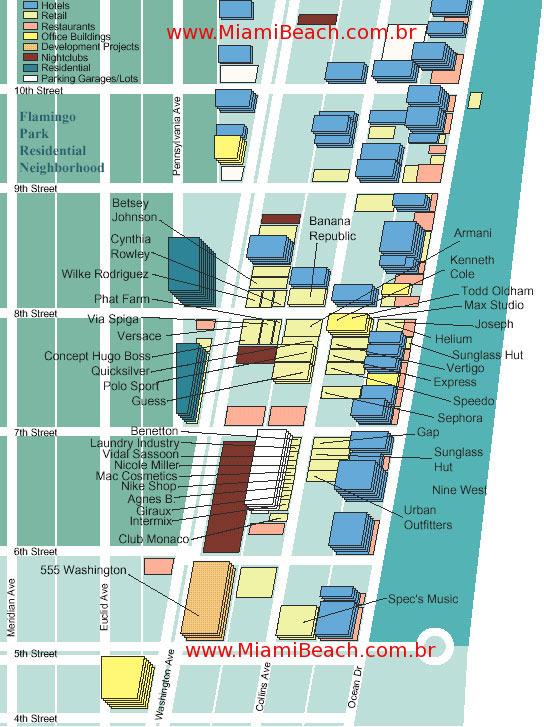Mapa - lojas da Collins Avenue