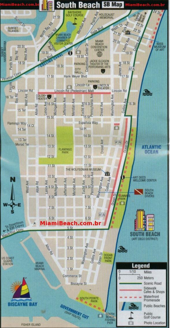 mapa - south beach - miami beach - guia em português